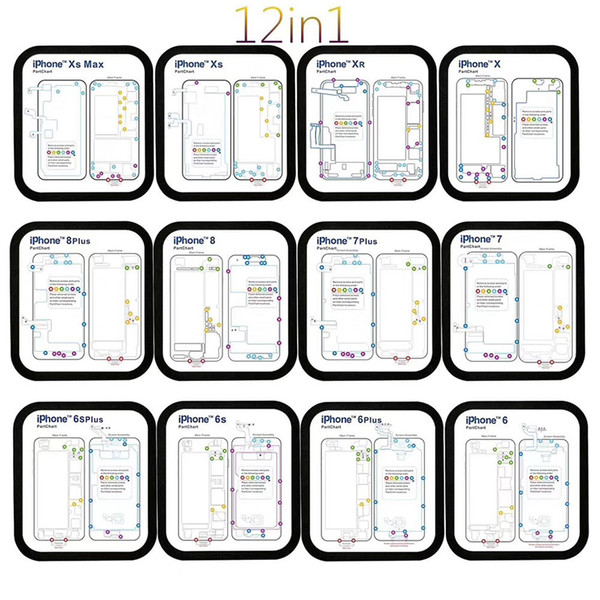 12 in 1 Guide Pad Magnetic Screw Keeper Memory Chart Mat for iPhone 6 6S 7 8 X XS Max XR Teardown Repair Guide Pad Assistant 20 set