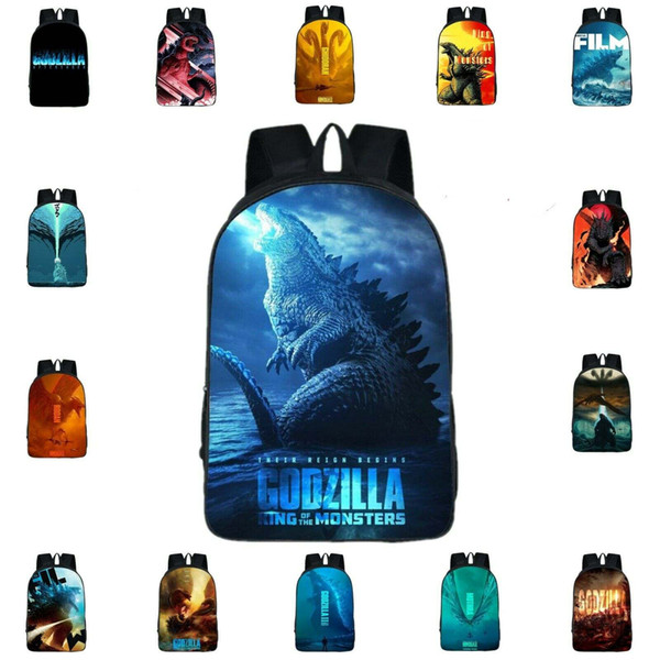top popular Godzilla: King of the Monsters School Bag Print Backpack Polyester Rucksack Outdoor Travel Satchel Book Bags 16 Inch Handbag Knapsack 2020