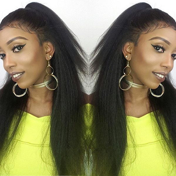 Hand-made Brazilian 100% human full lace hair wigs Yaki straight Pur plucked lace front human hair wigs with baby hair natural hairline