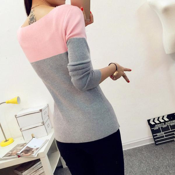 Femme Triko Kadın Triko Kış Kadın İlkbahar Patchwork Triko Kadın Triko Ve Kazak Bayan Örgü Bayan Jumper Pull