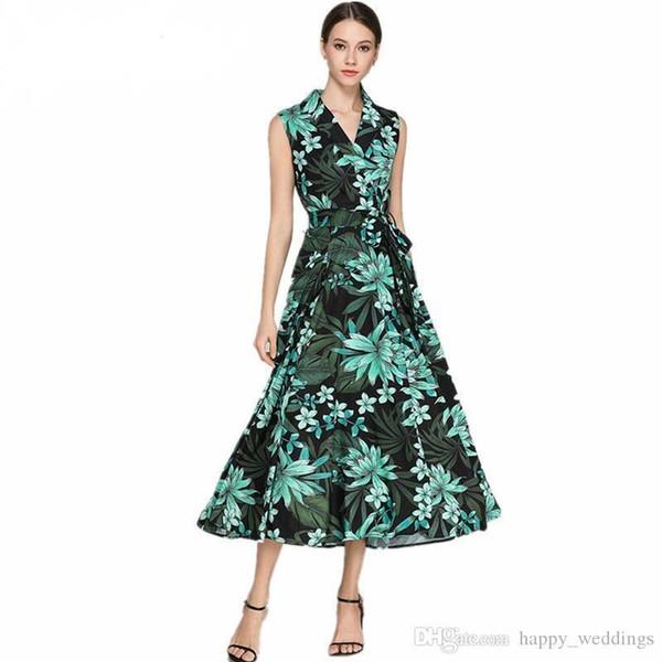 8a35c4acaa Nueva moda Niza diseñador Runway Maxi vestido de verano para mujer sin  mangas flores Retro vestido