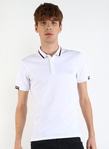 Desconto Listrado Gola Homens Sólidos Casual Camisas Polo de Alta Qualidade do Homem de Algodão de Lazer Polos de Negócios Esporte Camiseta Branco Preto