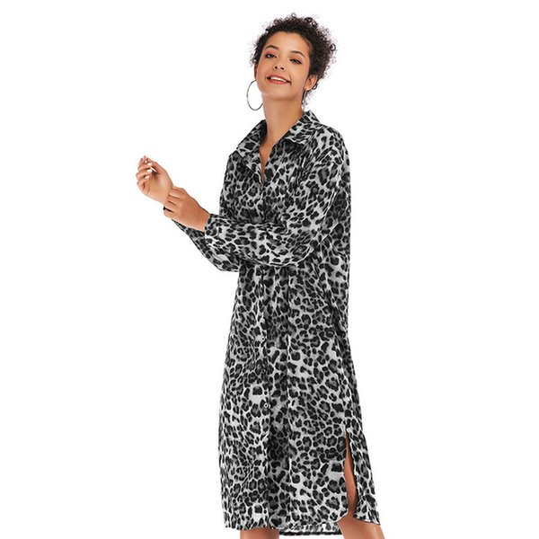 European and American women's dress leopard chiffon large size sexy split long sleeve spring and autumn beach party club fashion
