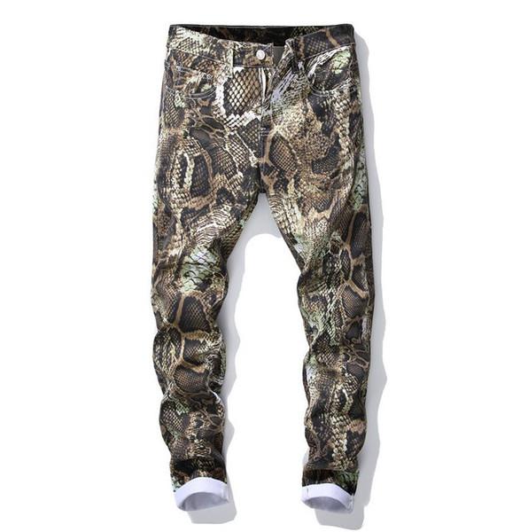 2019 Mens Snake Skin impreso Skinny Jeans diseñador de moda tamaño grande Slim Fit pantalones casuales pantalones de mezclilla tamaño 28-38 5005