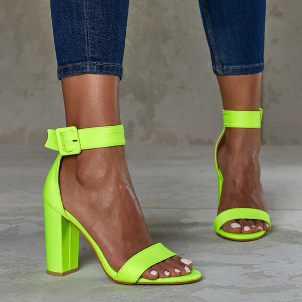Goddess2019 Sexy Concise Nightclub High Coarse With One Word Bring Toe Will Code Women's Sandals
