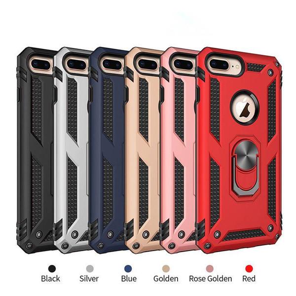 Caja del teléfono celular Soporte para anillo de coche magnético Estable con respaldo duro PC Armadura para iPhone 8 X XS MAX Samsung S10 S10e Plus
