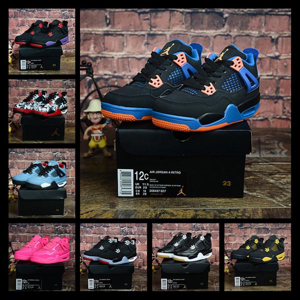 2019 zapatos de baloncesto de los niños 4s para los niños pequeños las zapatillas de deporte de chicas se divierten el zapato atlético niños Zapatos Niño Deporte Kid zapatilla de deporte 28-35