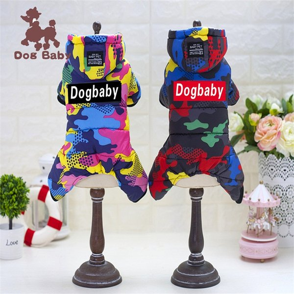 Autumn And Winter New Design Red Black Color Printing Camouflage Style Four Legs Cotton Padded Thickening Warm Dog Clothes