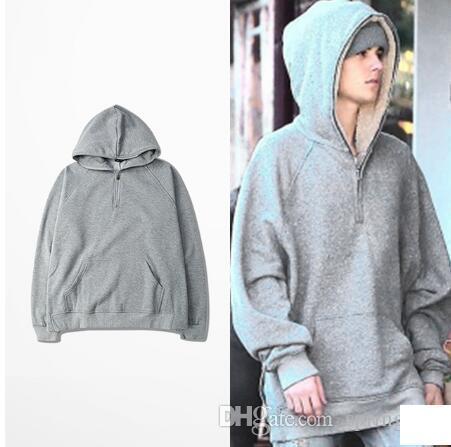 Hiphop Men Hoodie Justin Bieber Zipper Hooded Sweatshirt Kanye ASAP Style Hoodies Side Split Streetwear