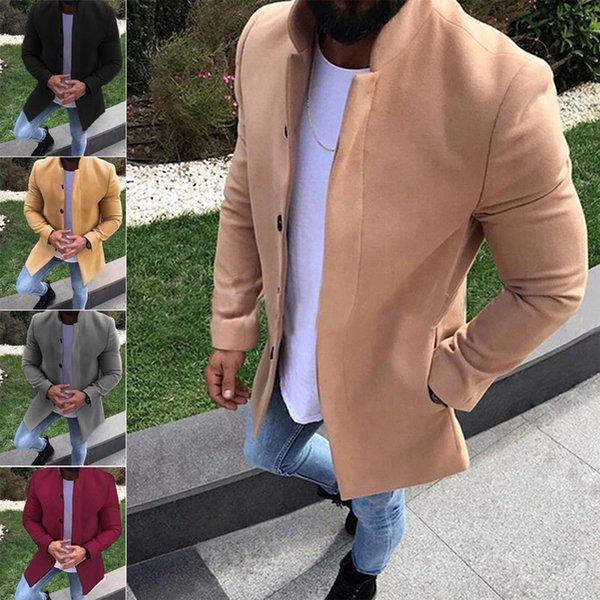 İngiliz Stili Kış Coat Erkekler yepyeni Çift Breasted Trençkot Erkek Casual Slim Fit Palto Ceket Manteau Homme