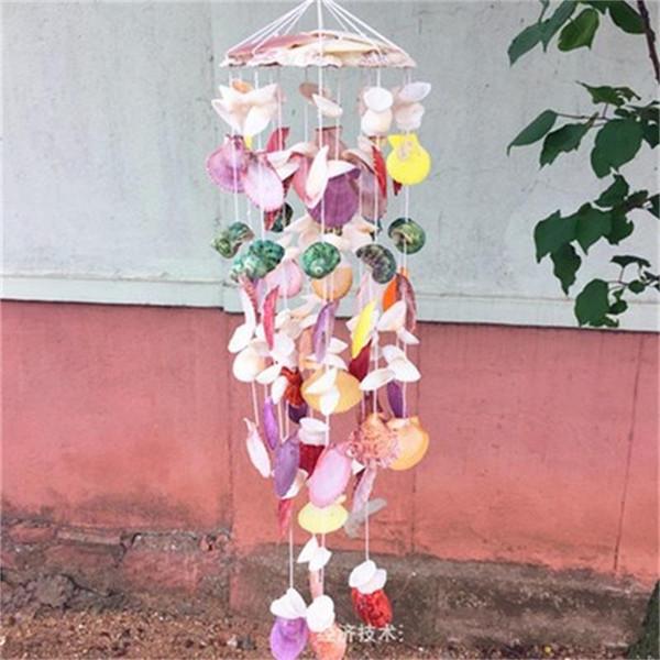 Puros adornos colgantes natural Shell de la concha del estilo del océano colorido del carillón de viento hogar de la pared Decoración Party Accessories regalos de los niños