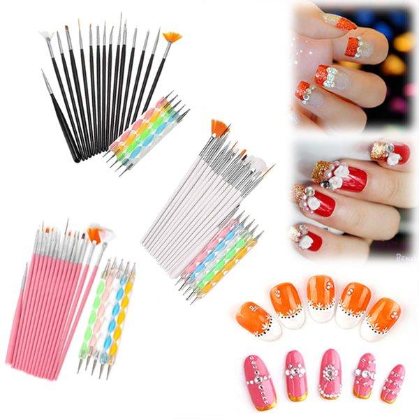 Art Design Outil De Peinture Stylo Polonais Brosse Set Kit Professional Brosse À Ongles Styling Nail Art outils 20pcs / set