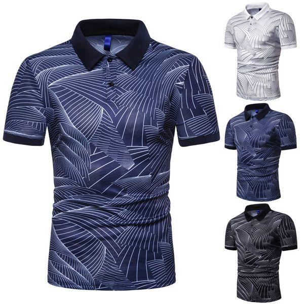 Mens Summer Fashion Polos 2019 Hot Sale High Quality Mens Trend Wave Pattern Print Polo Mens Slim Lapel Shirts Men Brand Tops Tee Size S-3xl