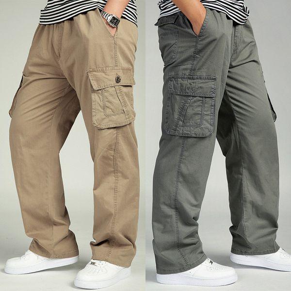 Big men cargo pants M-6XL 5xl loose casual trousers male plus size long trousers cotton straight Multiple pockets pants