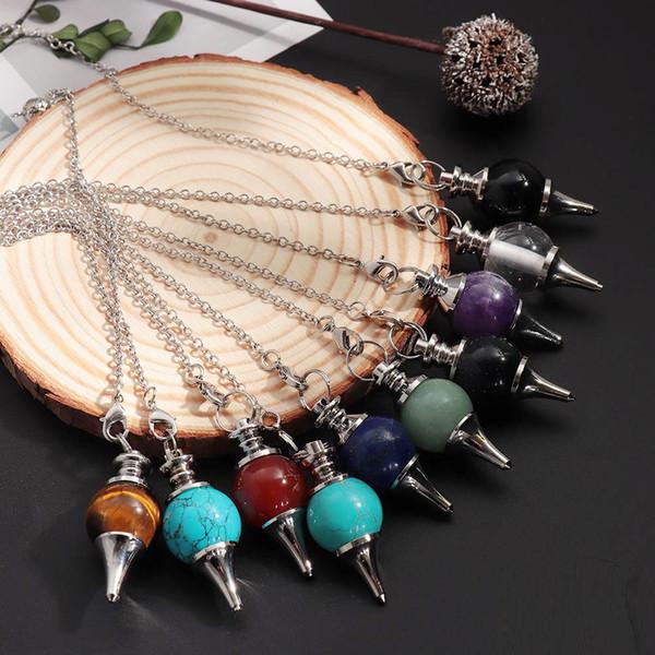 Balance Reiki Natural Stone Crystal Red Agates Dowsing Pendulum Circular Cone Charms Pendant For Men Women Divination 2019