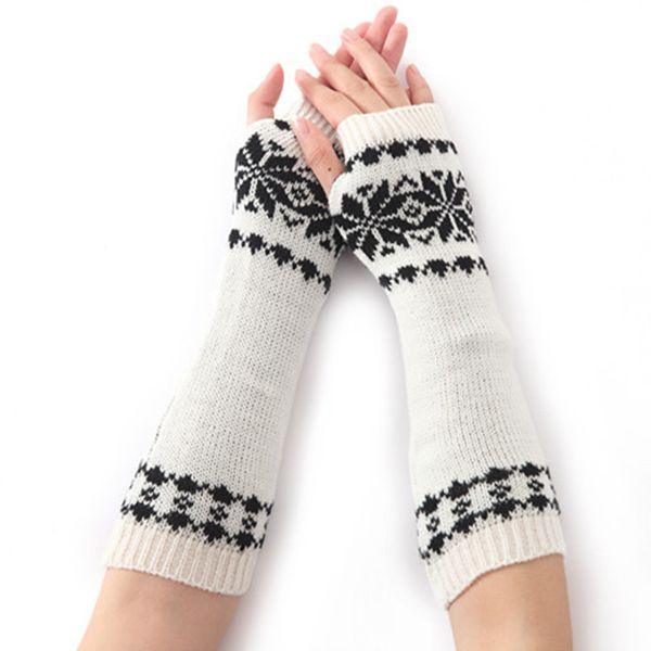 Hiver femmes long chaud manches moufles Femme flocon de neige acrylique maille stretch moitié doigts Gants sans doigts Manchettes C75
