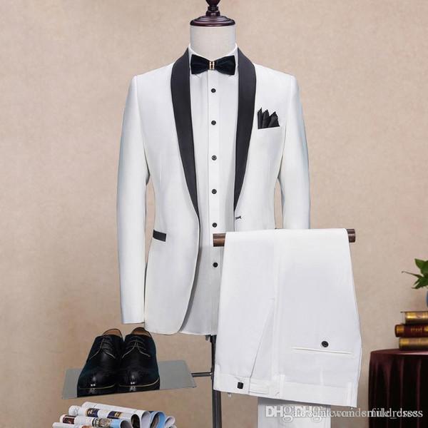 Custom Made Groom Tuxedos Slim Fit 2017 Padrinos de boda Best Man Prom Suit 3 piezas de boda de los hombres se adapta al desgaste del novio (chaqueta + chaleco + pantalones)