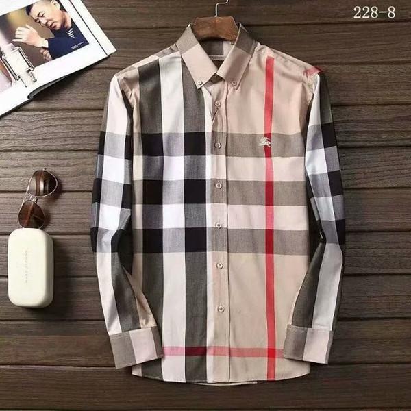 Camicia a maniche lunghe da uomo business casual da uomo a righe slim fit da uomo sano socialmente nuova camicia a quadri M-4XL # 370