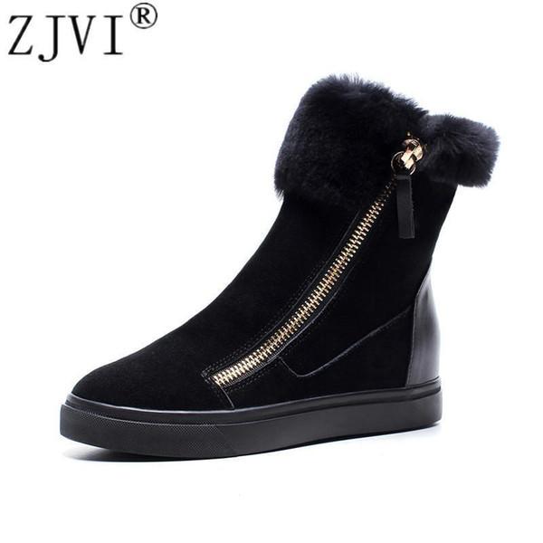 Zjvi Woman Suede Genuine Leather Fur Snow Boots For Women Winter Platform Ankle Boots Nice Lady Shoes Woman Flat Warterproof