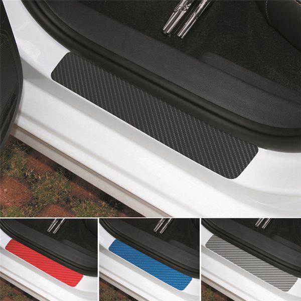 4Pc Black Car Door Plate Stickers Carbon Fiber Look Car Sticker Sill Scuff Cover Anti Scratch Decal Universal For All Car