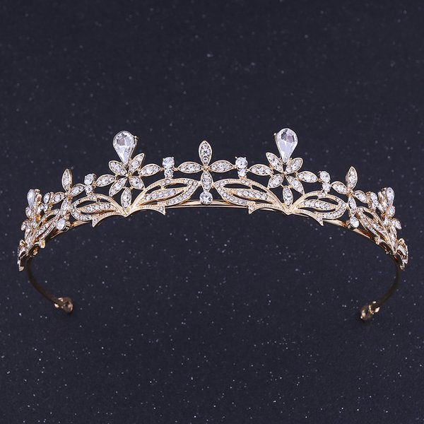 Wedding Party 15x3cm Tiaras beaded flower leaf headwear of bride crown diamond headwear for bride acting initiation graduation ZG-133