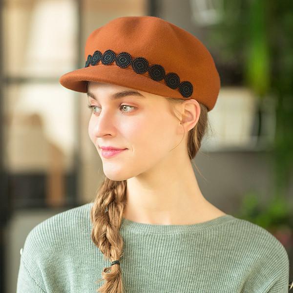 bonnet de laine pure Automne Hiver Nouveau Motif Femme Temps Hat Mode citrouille Hat aller sur un voyage Chapeaux Painter