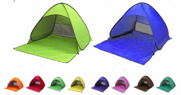 top popular Hot sellBeach Tent colorful Ultralight Folding Tent Pop Up Automatic Open Tent Family Tourist Fish Camping Anti-UV Fully Sun Shade 2021