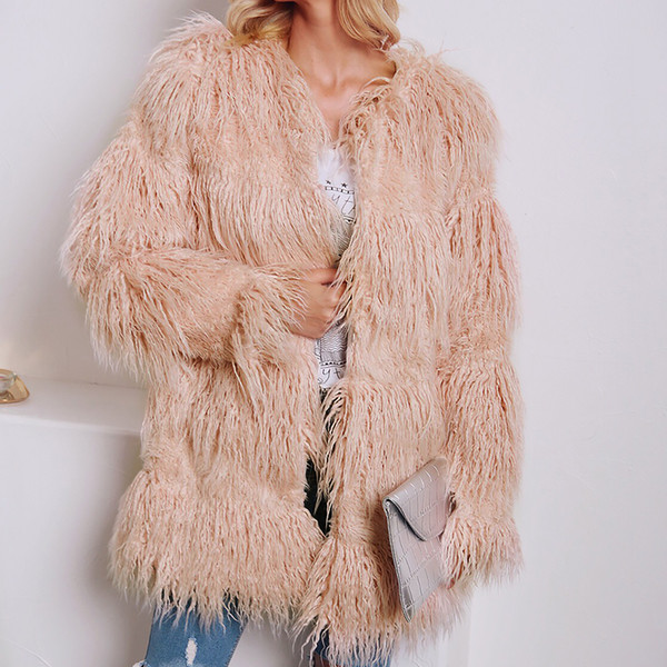 Warm Faux Fur Coat Women Fluffy Long Sleeve Round Collar Outerwear Autumn Winter Female Long Jacket Hairy Overcoat Plus Size 3X
