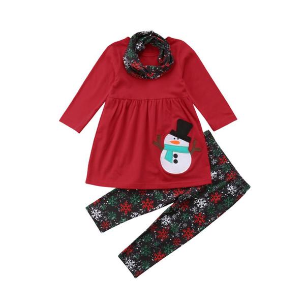 Рождественская вечеринка Довольно для новорожденных Детские ребёнки 3шт Наборы Снеговик Печать с длинным рукавом красный платье + Печать Брюки шарфов 1-6Y