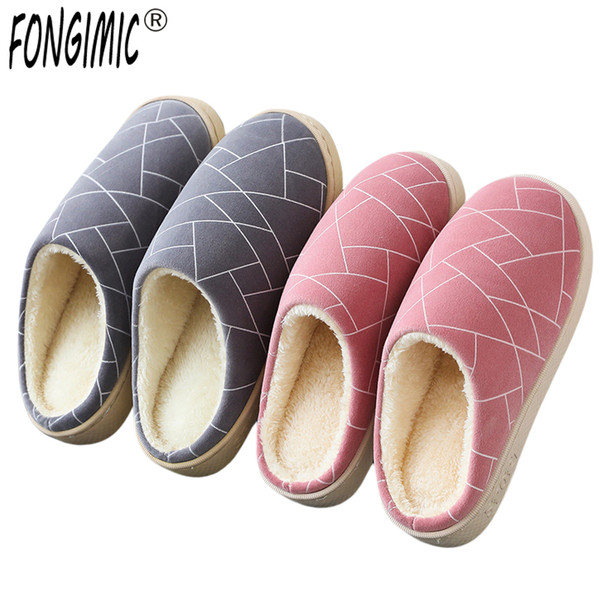 FONGIMIC Winter Slippers New Cotton Warm Home Floor Slippers Female Winter Household Couple Men Women Indoor Soft-soled Shoes