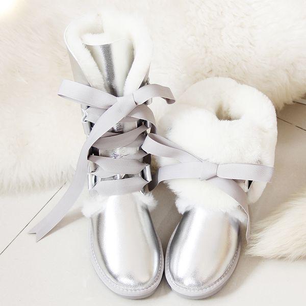 GYYY botas de lã Natural Genuine couro de carneiro na altura do joelho de neve botas de amarrar de pele de ovelha Longo Bota menina Bow Plano de Inverno Sapatos