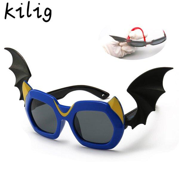 Telaio Kilig bambini Cartoon occhiali da sole polarizzati Little Devil retro occhiali TR90 di sicurezza con l'ala occhiali bambini Shades UV400