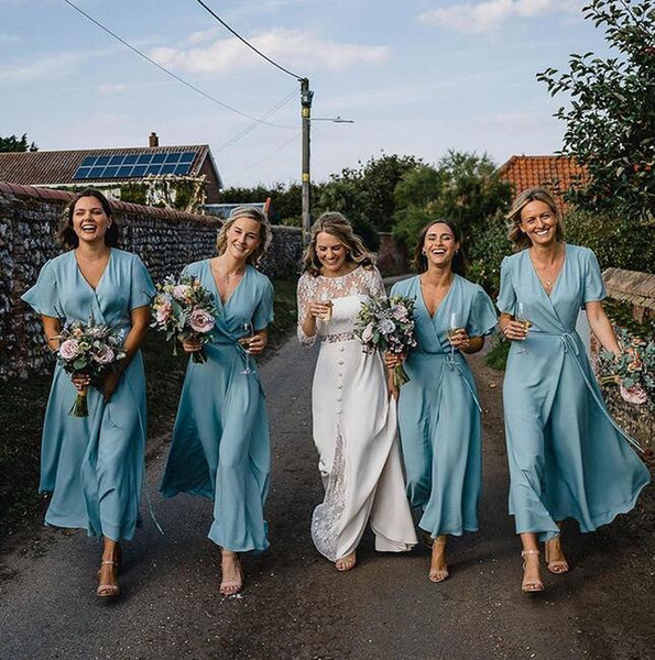 2019 Chiffon Long Bridesmaid Dresses Cheap Plus Size maid of honor gowns jumpsuits short sleeve Bridal Wedding Party Gowns cheap Custom Made