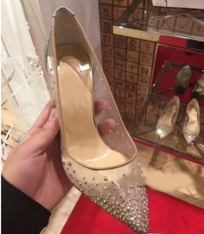2019 nouveau printemps été élégantes styles femmes chaussures strass talons hauts cristaux bout pointu maille Pompes femme semelle rouge chaussures de mariage