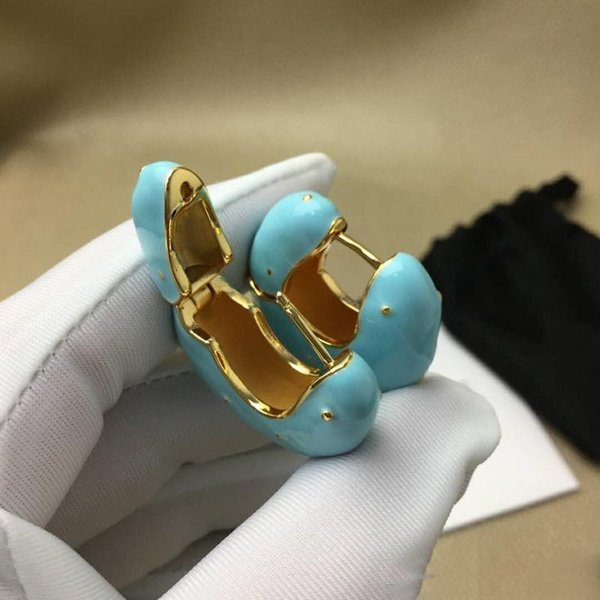 OL Women Earrings Yellow Gold Plated Oil Painting Hoops Earrings for Girls Women for Party Wedding Nice Gift for Friend