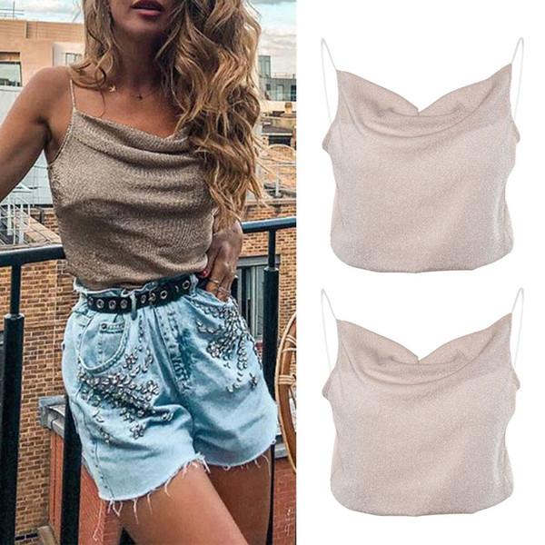 Summer Camisole Women Sexy Crop Top Loose Vest Tops Femme Sleeveless Glitter Short Tee Top