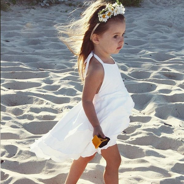 Children summer beach skirt baby girl sleeveless suspender skirt white black Asymmetrical tutu girl cupcake dresses