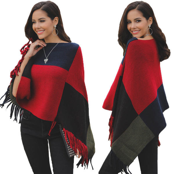 S To XL Cloak Coat Women Cape Slash Neck Irregular Batwing Sleeve Fall Winter Cloak Tops Ladies Casual Cloak Knitted Sweater