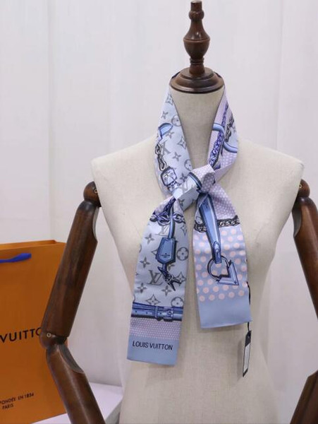 Silk Scarf for Women Spring Summer European Lock 2 colors design Long Scarves Wrap with Tag 9x115cm Shawls Hearbands