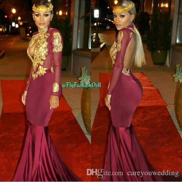 African Burgundy Black 2019 Sirena Vestidos de baile Vestidos de fiesta de manga larga de satén de encaje Vestidos formales Vestidos de fiesta de noche