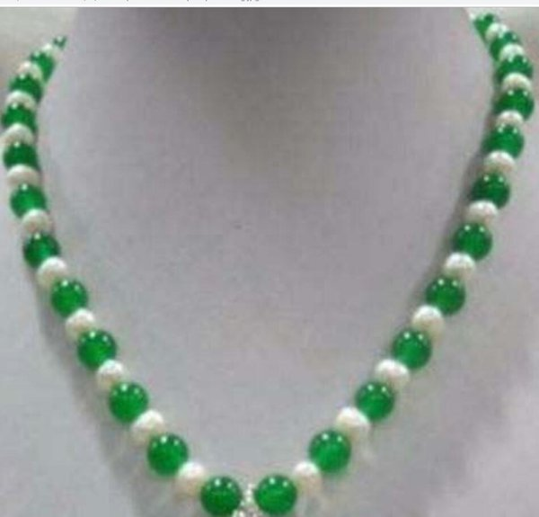 "necklace White 7-8 pearl 8mm green jade dragon pendant necklace 18"" 6G5RDF"