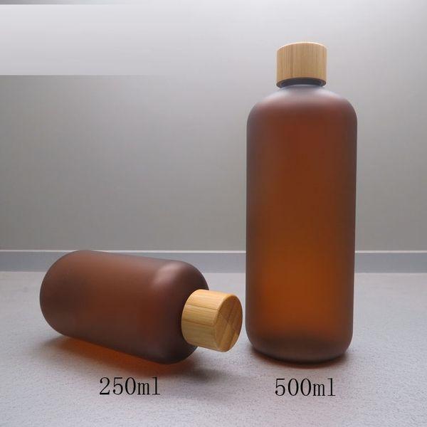 308 stücke 250 ml braun matt PET-flasche mit schraube abdeckung / Natürliche bambuskappe / Tee farbe plastikflasche