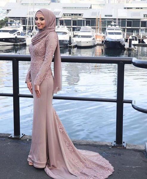 2019 Nuovo 100% immagine reale polveroso rosa sirena musulmana abiti da sera appliques maniche lunghe in raso abiti da ballo abiti formali sweep treno