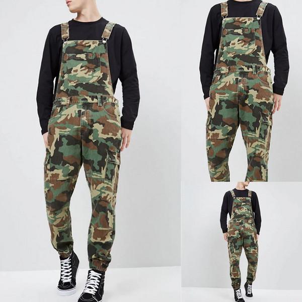Новые осенние мужские джинсы Мода Slim Fit до щиколотки джинсовые комбинезоны с нагрудниками комбинезон осень полная длина камуфляж брюки подтяжки