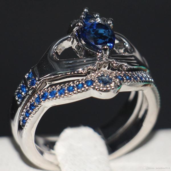Size 5-11 Fashion Women Jewelry 10kt white Gold Filled Heart Shape Blue Sapphire Birthstone Diamond Women Wedding Bridal Couple Lovers Ring