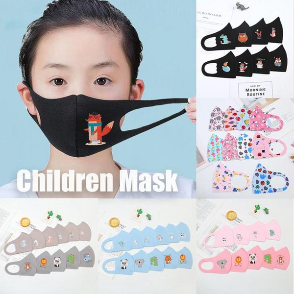 top popular New PM2.5 Children Anti-pollution Masks Boys Girls Cartoon Mouth Face Masks Kids Anti-Dust Breathable Earloop Washable Reusable Cotton Mask 2020