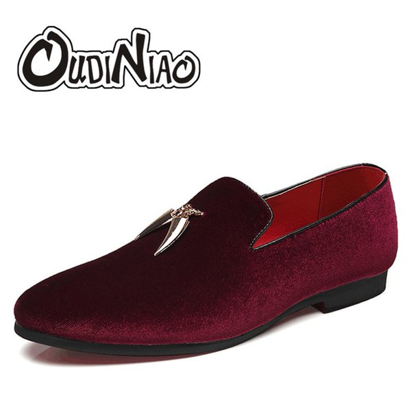 Oudiniao Men's Shoes Large Size Slip On Men Loafers Shoes Spring Casual Sickle Suede Mens Designer Shoes For Men Pointed Toe MX190713