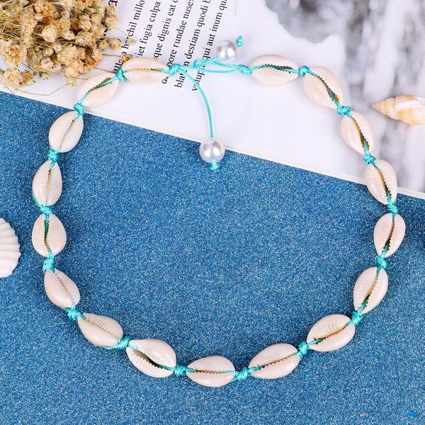 Shell Gargantilha Colar para Mulheres Seashell Azul Declaração Colar Ajustável Puka Shell Havaiano Jóias