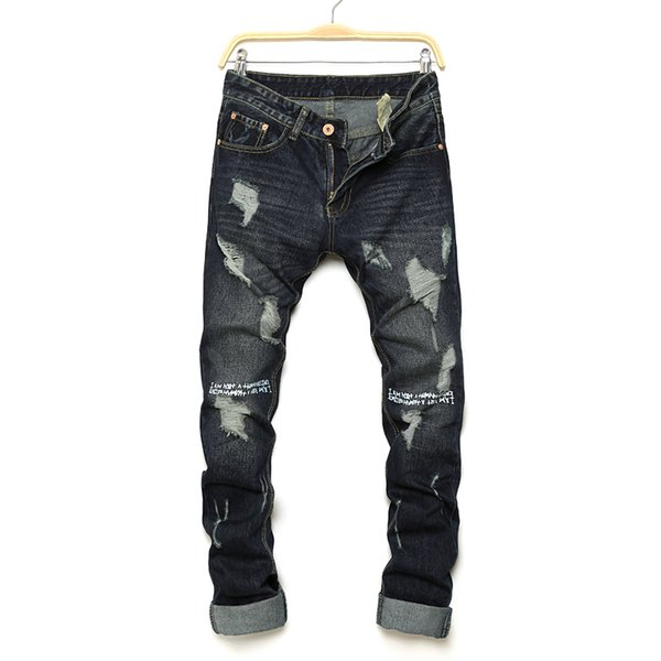 High quality fashion mens jeans hole Casual ripped jeans men hiphop pants Straight for men denim trousers