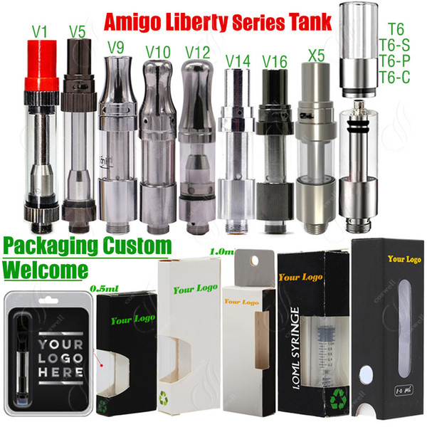 Original Itsuwa Amigo Liberty-T6 X5 V1 V5 V7 V9 V10 V12 V14 V16 Ceramic Spulen Carts Behälter Vape Cartridges 510 Atomizers Verpackung Customized
